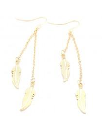 Boucles d'oreilles feuilles pendantes dorées