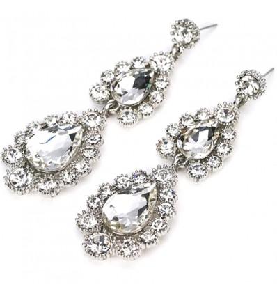 Boucles d'oreilles mariée diamants strass, argent