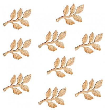 Breloque feuilles x2, doré