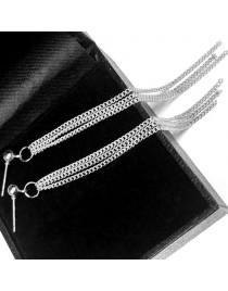 Boucles d'oreilles chaînes pendantes, argenté