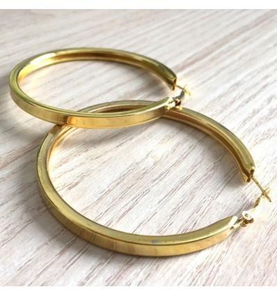 Boucles d'oreilles créoles épaisses carré d7 cm, doré