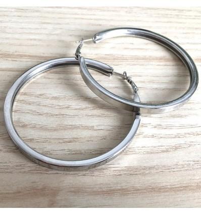 Boucles d'oreilles créoles épaisses carré d7 cm, argenté