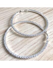 Boucles d'oreilles créoles strass diamant, argenté