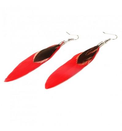 Boucles d'oreilles plumes, rouge