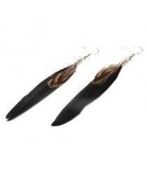 Boucles d'oreilles plumes, noir