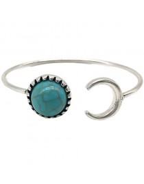 Bracelet jonc boho, turquoise / gris