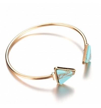 Bracelet jonc marbre, doré/turquoise