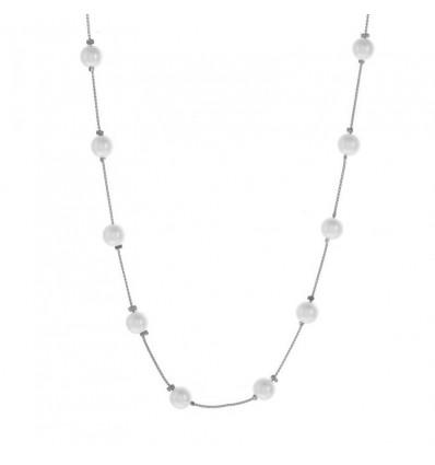 Collier perles blanches et chaîne, argenté