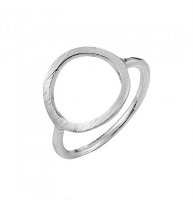 Bague anneau effet brossé, argenté