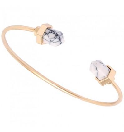 Bracelet marbre, doré/blanc