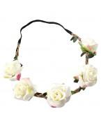 Headband fleurs blanches