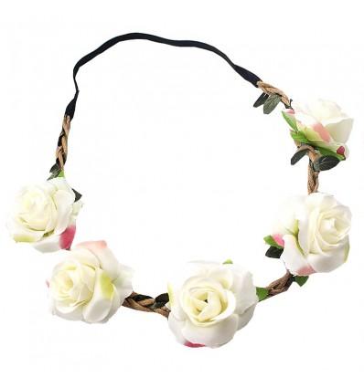 Headband mariage fleurs blanches