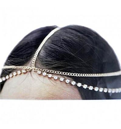 Bijou de tête chaînes et strass diamant, argenté