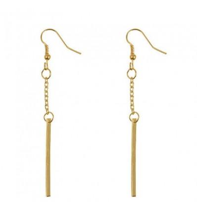 Boucles d'oreilles barre pendante dorées