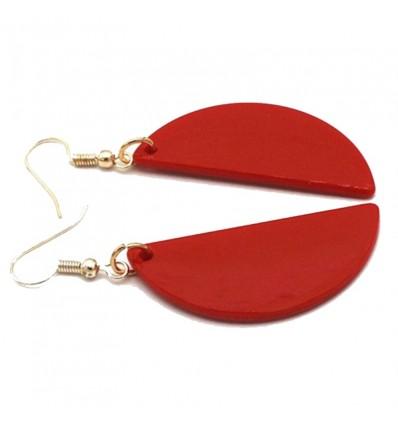 Boucles d'oreilles demie cercle rouge
