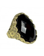 Bague pierre noire, bronze