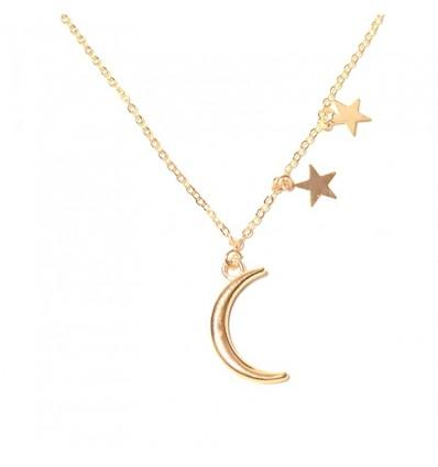 Collier fin lune étoile, doré