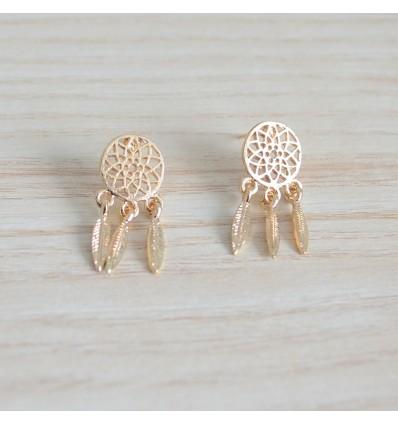 Boucles d'oreilles attrape rêve dorées