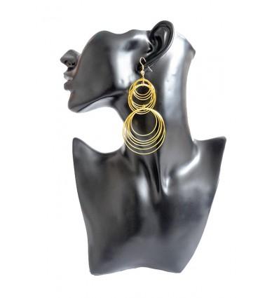 Boucles d'oreilles créoles superposées, doré