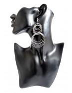 Boucles d'oreilles créoles superposées, argenté