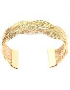 Bracelet manchette tressé, doré