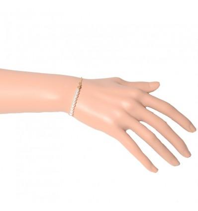 Bracelet chaîne et perles, doré/blanc