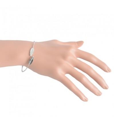 Bracelet jonc double feuille, argenté