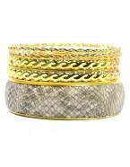 Bracelets fins dorés et manchette python, lot de 5
