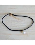 Choker pendentif perle, noir