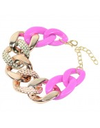 Bracelet chaîne, doré/fuchsia
