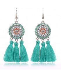 Boucles d'oreilles pendantes franges, bleu turquoise
