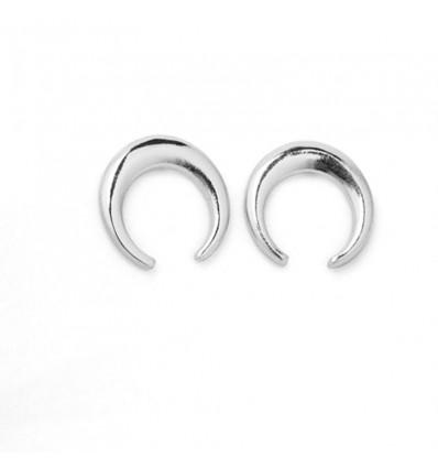 Boucles d'oreilles lune, argenté