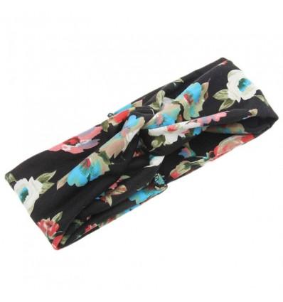 Bandeau type turban imprimé fleuri, noir