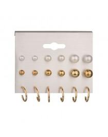 Lot boucles d'oreilles perles et dorées, blanc/doré