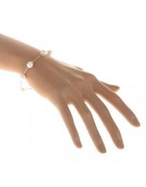 Bracelet chaïne et perles, argenté