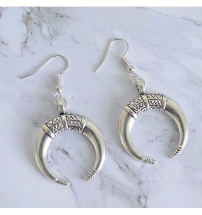 Boucles d'oreilles lune ethnique, argenté