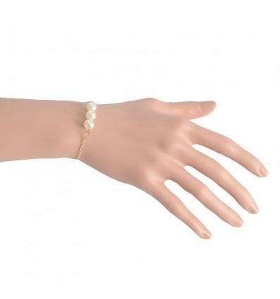 Bracelet fin 3 perles et chaîne, doré