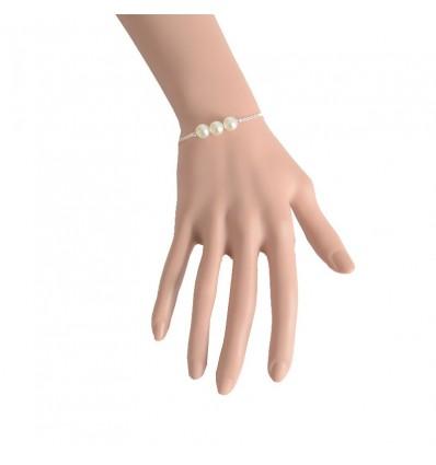 Bracelet fin 3 perles et chaîne, argenté