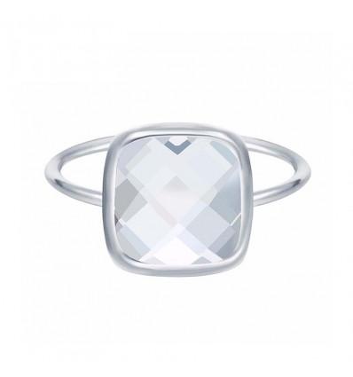 Bague pierre carrée et facettée, transparent/argenté