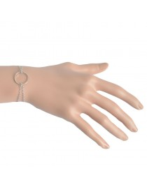 Bracelet fin double anneau, doré
