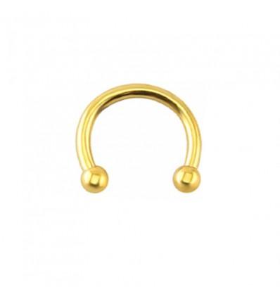 Faux piercing anneau nez et oreille, doré