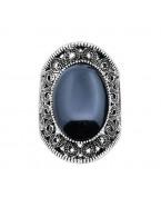 Bague bohème pierre noire, argenté