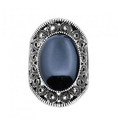 Bague pierre noire, argent