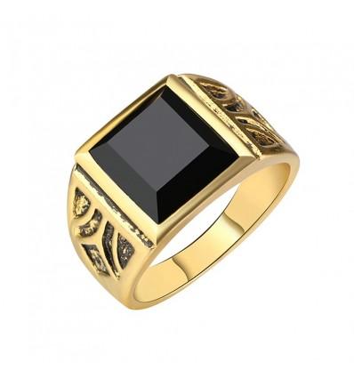 Bague chevalière pierre noire, doré