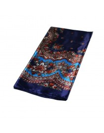 Foulard imprimé vintage effet satin, bleu