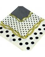Foulard en soie imprimé pois, blanc