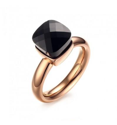 Bague pierre noire facettée, doré