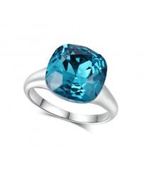 Bague pierre bleue, argenté