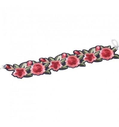 Choker rose brodé, noir/rouge