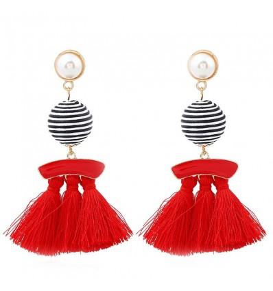 Boucles d'oreilles pompon perle et boule, rouge